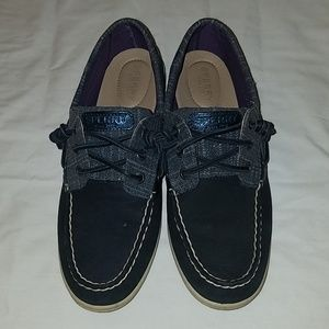 Sperry Songfish Sparkle Boat Shoe Navy 9